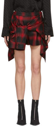 Alexander Wang Red and Black Check Tie Front Shorts