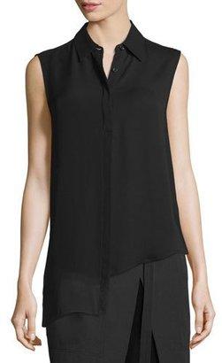 DKNY Sleeveless Asymmetric Chiffon Top, Black $258 thestylecure.com