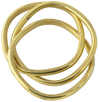 One Kings Lane Vintage Intertwined Triple Brass Bangles - Owl's Roost Antiques