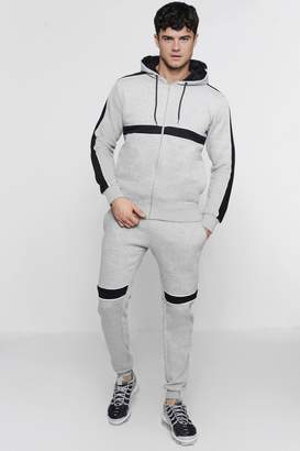 boohoo Hooded Panelled Tracksuit With Contrast Piping