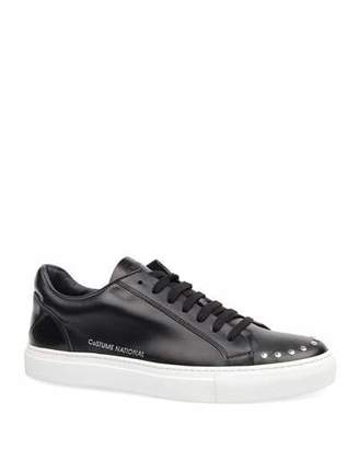 CNC Costume National Men's Low-Top Studded Leather Sneakers