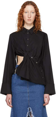 Marques Almeida Black Draped Cut-Out Shirt