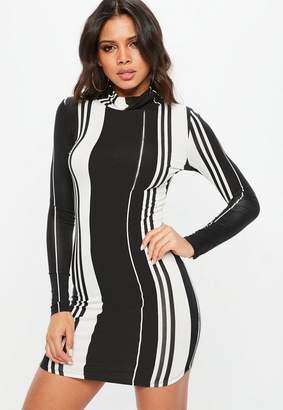 Missguided Black Stripe Long Sleeve Bodycon Dress
