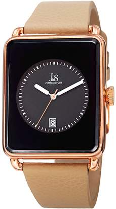 Joshua & Sons Men's Leather & Black Dial Watch, 37.5mm
