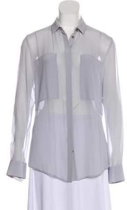 Alexander Wang Silk Ultra Sheer Button-Up Top w/ Tags