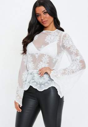 Missguided White High Neck Embroidered Lace Blouse