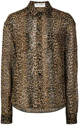Saint Laurent sheer leopard print shirt