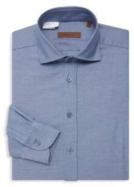 Corneliani Piqué Cotton Classic Fit Dress Shirt