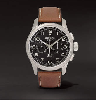 Zenith Pilot 44mm Stainless Steel And Leather Watch