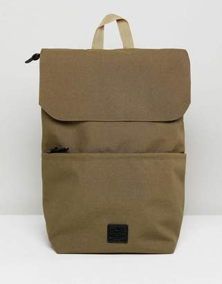 Asos Fold Top Backpack In Camel With Patch Detail