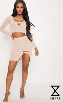 PrettyLittleThing Shape Stone Slinky Cut Out Detail Bodycon Skirt