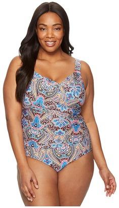 Jantzen - Plus Size Vibrant Paisley Draped Over the Shoulder Surplice One-Piece Women's Swimsuits One Piece $120 thestylecure.com