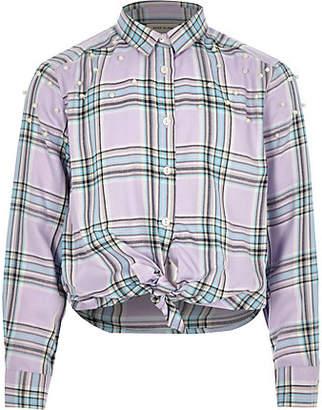 River Island Girls purple check pearl tie shirt