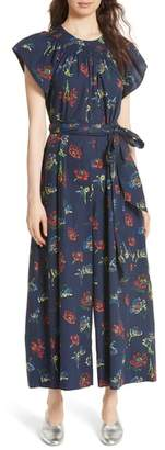 Ulla Johnson Coralie Floral Print Wide Leg Jumpsuit