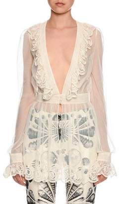 Alexander McQueen Long-Sleeve Embroidered Tulle Peplum Blouse