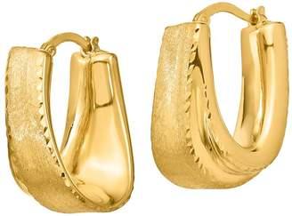 Italian Gold Satin & Diamond-Cut U-Shaped Hoop Earrings, 14K