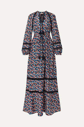 Tory Burch Sonia Lace-trimmed Printed Cotton And Silk-blend Maxi Dress