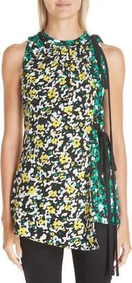 Proenza Schouler Side Tie Floral Print Blouse