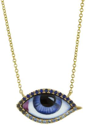 Lito Fine Jewelry Petit Bleu Enamel, Diamond and Sapphire Evil Eye Necklace - Yellow Gold