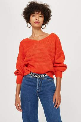 Topshop PETITE V-Neck Stitch Top