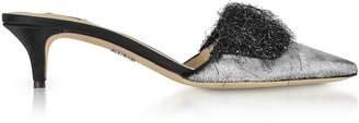 Rodo Silver Hair-calf and Black Fabric Kitten-Heel Mules