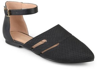 Brinley Co. Womens Faux Leather Pointed Toe Two-tone Ankle Strap Flats
