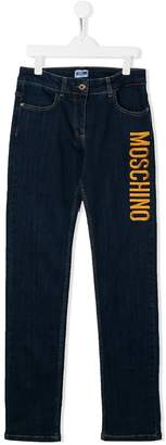 Moschino Kids embroidered logo jeans