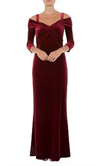 Anthea Crawford Ruby Velour Gown
