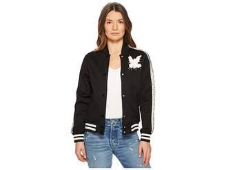 RED Valentino Jersey Bomber with Point D'Esprit Stripe Bird Embroidery Women's Coat