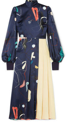 Roksanda Ayva Printed Silk-satin And Pleated Silk-chiffon Maxi Dress - Midnight blue