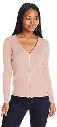 Calvin Klein Women's Ribbed Zipper-Front Cardigan Sweater