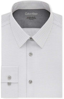Calvin Klein X Men's Extra-Slim Fit Thermal Stretch Performance Gray Print Dress Shirt