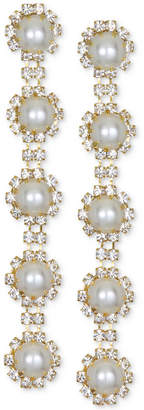 Badgley Mischka Gold-Tone Crystal & Imitation Pearl Linear Drop Earrings