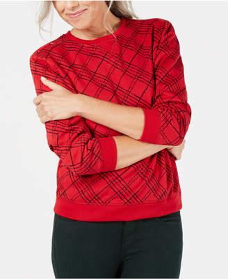 Karen Scott Plaid Crew-Neck Sweatshirt, Created for Macy's