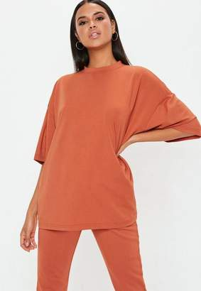 Missguided Rust Drop Shoulder Oversized T Shirt
