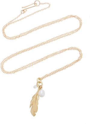 Annette Ferdinandsen Feather 18K Gold And Diamond Pendant Necklace