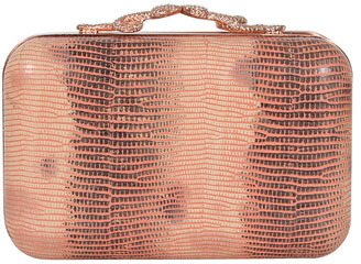 House Of Harlow Handbags Marley Lizard Print Clutch in Salmon