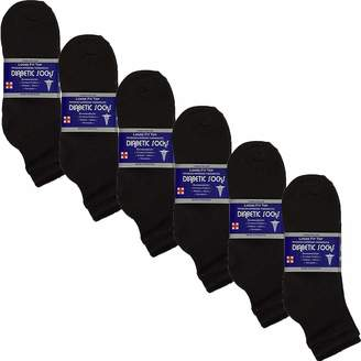 USBingoshop 6 Pairs Mens Physicians Approved Crew Ankle Diabetic Socks Cotton
