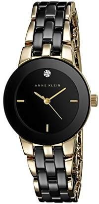 Anne Klein Women's AK/1610BKGB Diamond Dial Gold-Tone and Ceramic Bracelet Watch