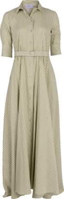 Luisa Beccaria Stripe Maxi Shirt Dress
