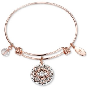 Unwritten Two-Tone Crystal Evil Eye Bangle Bracelet in Rose Gold-Tone & Stainless Steel