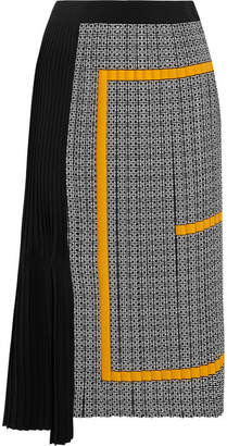 Givenchy Pleated Printed Silk Crepe De Chine Midi Skirt - Black