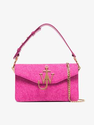 J.W.Anderson pink hibiscus logo felt shoulder bag