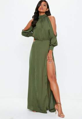 Missguided Split Front Satin Maxi Dress