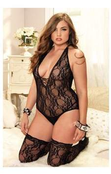 Leg Avenue Women's Plus Size Sexy Stretch Lace Teddy and Thigh High Stocking 2 Piece Set