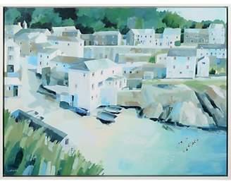 Unbranded Claire Henley - Slipway Portloe Embellished Framed Canvas Print, Green, 64 x 84cm