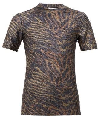 Ganni Zebra Print Lurex T Shirt - Womens - Animal