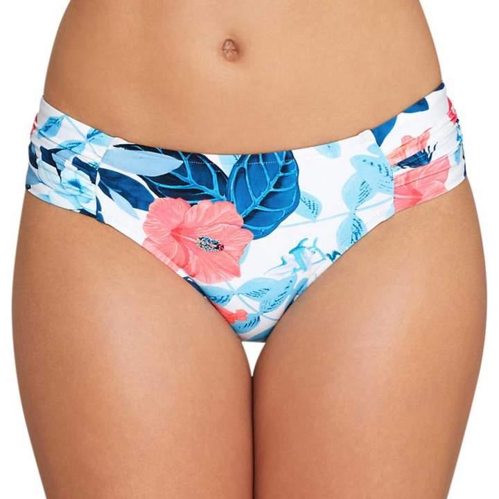 White Print Ruched Side Retro Bikini Briefs