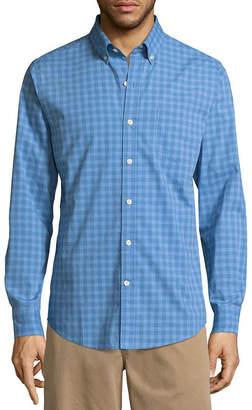 ST. JOHN'S BAY Long Sleeve Gingham Button-Front Shirt