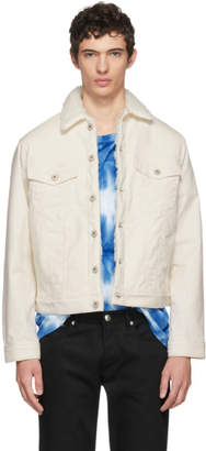 Naked & Famous Denim Denim White Corduroy Sherpa Jacket